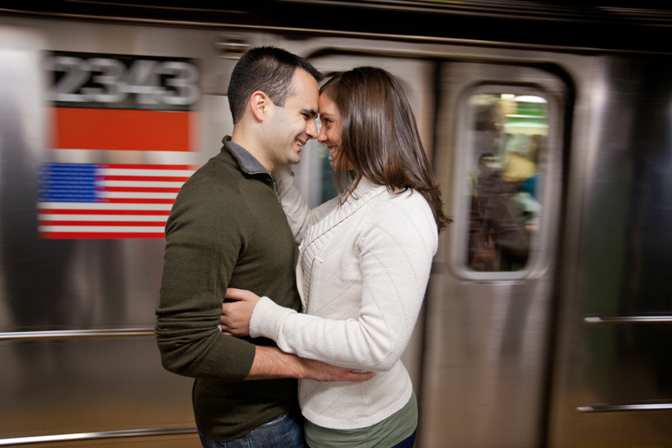 manhattan subway engagement photos