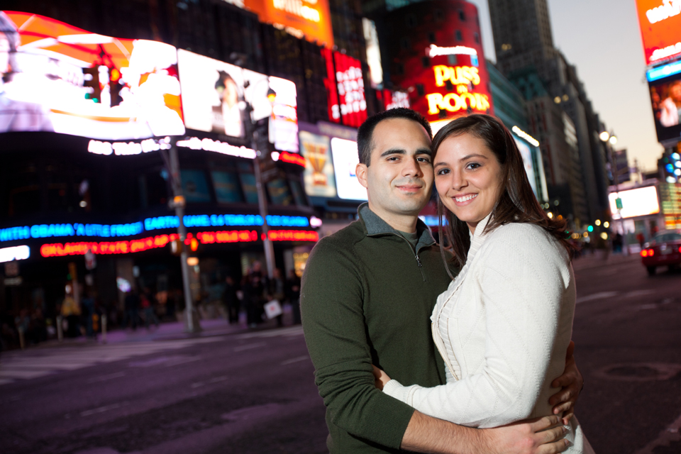 new york city times square engagement photos