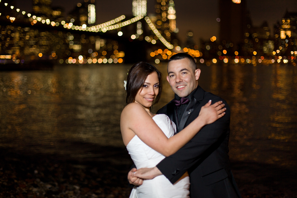brooklyn bridge park dumbo night lights wedding ny
