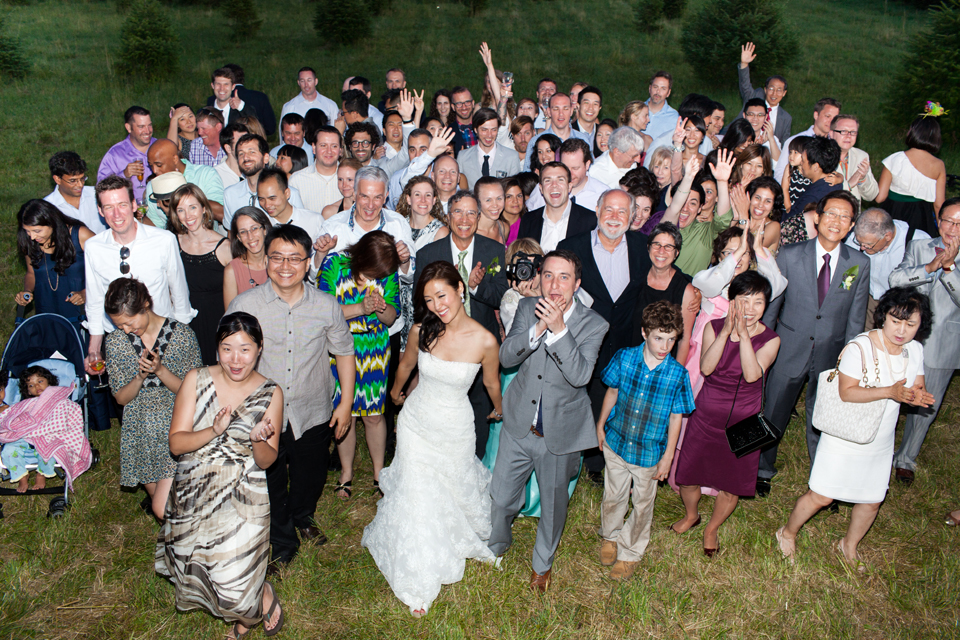 Wikens Fruit Fir Farm wedding group photo